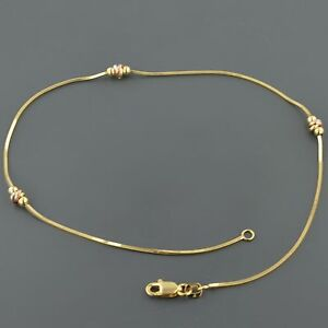 14K YELLOW GOLD SQUARE SNAKE W/ 3 TRI COLOR KNOT STATIONS 10 INCH ANKLET