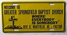 1992 WELCOME TO GREATER SPRINGFIELD BAPTIST CHURCH BOOSTER License Plate