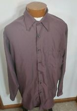 Cezani Button Front Shirt Long Sleeve Maroon/Brown Polyester Mens Size 17-34/35