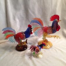 (3) BEAUTIFUL VINTAGE MURANO ART GLASS ROOSTERS --Formia, AVEM