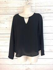 Forever 21 Blouse Womens Sz Small Pull Over V Neck Long Sleeve Semi Sheer Black