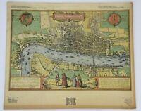 ANTIQUE OLD LONDON MAP ANONYMOUS ENGRAVING 1560 BRAUN et HOGENBERG