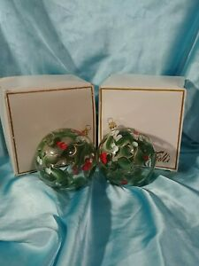 Set of 2 Vintage Marshall Field's Handpainted Holly GLASS Christmas Ornaments