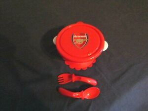 NEW ARSENAL SUCTION LIDDED BABY BOWL, SPOON & FORK SET.