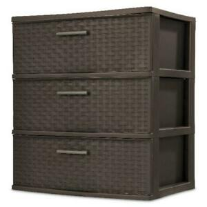 Sterilite 3 Drawer Wide Weave Tower Storage Cabinet Box Organizer Home Dresser