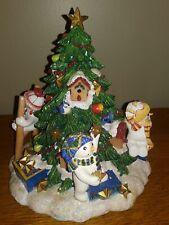 Fitz & Floyd Music Box Snowman Xmas Tree Decorating We Wish You a Merry Xmas
