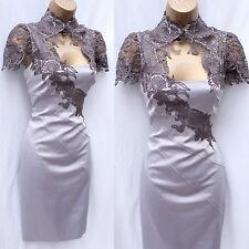 Exquisite KAREN MILLEN Mocha Satin Lace Neck Tuxedo Cocktail Wiggle Dress 16 UK