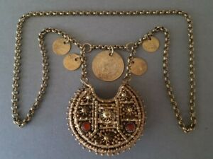 RARE ANTIQUE gold plated SILVER OTTOMAN NECKLACE medallion carneols coins 19th C