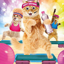 Funny Cats in Gym Keep Fit Birthday Card Work It Ladies 3D Goggly Moving Eyes