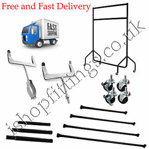 HEAVY DUTY GARMENT RAIL ACCESSORIES EXTENTIONS & CENTRAL BARS ALL SIZE AVAILABLE