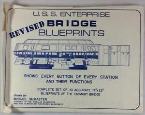 "Star Trek Complete Set of 10 U.S.S Enterprise Revised Bridge 17""x22"" Blueprints"