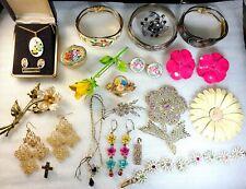 Vintage FLOWERS Micro Mosaic Sterling Silver Guilloche Enamel Jewelry Lot