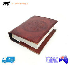 Small Leather Refillable Journal w Celtic Cover - Handmade Art Cotton Paper