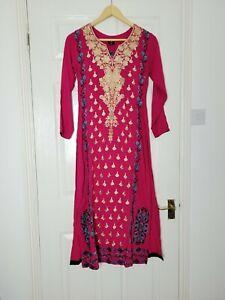 Sha Posh Ladies Kurta Asian Long Shirt Size XS Long Sleeves Pink