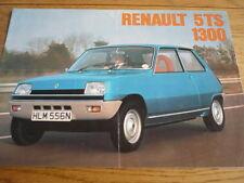 RENAULT 5 TS 1300 SALES BROCHURE 1975 jm