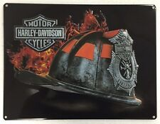 Ande Rooney HARLEY DAVIDSON FIRE HELMET Tin Firemen Firefighter HD Garage Sign