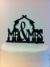Western Pistols MR & MRS Wedding Cake Topper MADE In USA…..Ships from USA