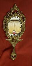Ornate Art Nouveau Vintage Hand Mirror Cherub Angel Floral Motif