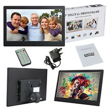 "UK 10"" Electronic Metal Digital Photo Frame LED LCD Picture Video Player Remote"
