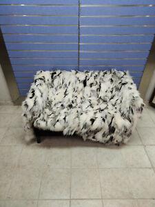 Luxury Platinum White Fox Fur Throw Real Fox Fur Blanket /Bedspread