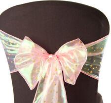 "Xmas Chair Sash Pink Gold Stars108""x08"" Christmas Table Decor Dinner Chairs Bow"
