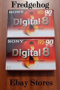2X Sony Digital 8 Vídeo Cámara Cinta / Casete N8-60P2 También Excelente Con Hi8