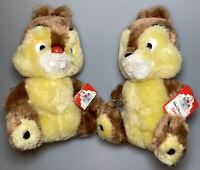 "LOT Vintage Chip n Dale Plush Stuffed Animal Set Disneyland Walt Disney World 8"""