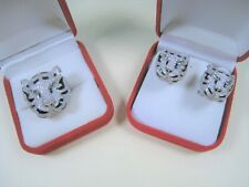 TIGER LION CUBIC ZIRCONIA EARRINGS & RING #6 W. GOLD & Enamel-plated 925 SILVER