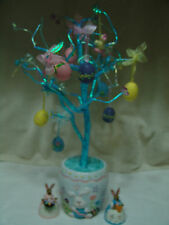 Glittery Blue Easter Egg Tree With Ornaments/Beads & 2 Bunnies