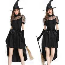Womens Black Witch Halloween Fancy Dress Outfit Party Witches Cosplay Costume