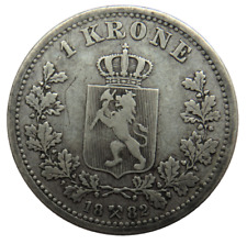 More details for 1882 norway silver one krone coin