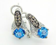 Levian White Gold Blue Topaz Chocolate and Vanilla Diamond Earrings