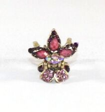 Brand New Gold Tone Vintage Vibrant Flower Hair Clip Claw w/Deep Purple Crystals
