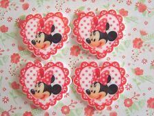 4 X Minnie Mouse Corazón Adorno De Resina Dorso duro para Libros Planar artesanías Cabello Moño UK