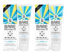 2 Bare Republic Face Mineral Sunscreen Lotion Spf 30 1.7 Oz