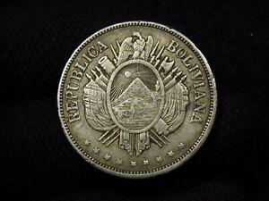 1873 Bolivia 1 Boliviano SILVER COIN