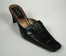 George Miu Women Shoes Size 8.5 M US 39 EU Black Mules Slides Heels Square Toe
