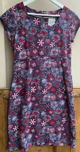 Womens Grey & Red Cord Short Sleeved Dress with Dandylion Print By Mistral 10uk