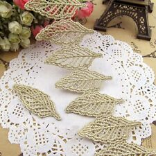 10PC Chic Embroidered Golden Leaves Trims Lace Sewing Patches Appliques Craft