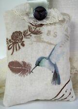 Shabby Chic Organic Lavender Pillow Sachet Vintage Style Hummingbird Button Lace