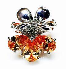 QUALITY Hair Claw Clip using Swarovski Crystal Hairpin Wedding Flower Brown