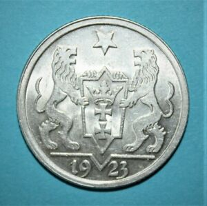 Danzig 1 Gulden 1923 Uncirculated Silver Coin - Ship and Star