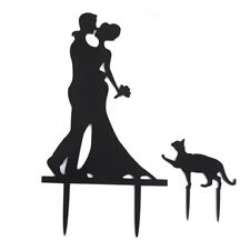 Wedding Cake Topper Cake Decorations Engagement Bride & Groom with Cat Acry X1N3
