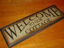 WELCOME TO OUR COTTAGE Rustic Green Crackle Wood Framed Wall Home Decor Sign NEW