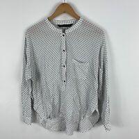 Zara Womens Shirt Top Small White Long Sleeve Round Neck