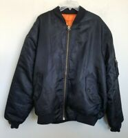 Trust Mens Bomber Jacket Reversible Black Orange Zip Pockets Lined Size L