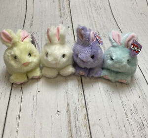 Vintage Puffkins Bunny Rabbit Lot Of 4 Plushies Plush Limited Edition With Tags