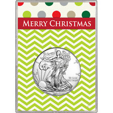 2017 Silver American Eagle BU in Merry Christmas Gift Holder