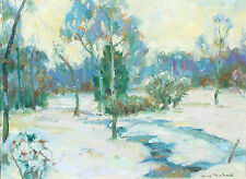 Gary Michael Untitled Original Oil Painting on Board landscape winter snow OBO