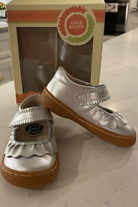 NWT Livie and Luca Silver Metallic Ruche Mary Jane
